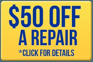 50 dollars off on a repair